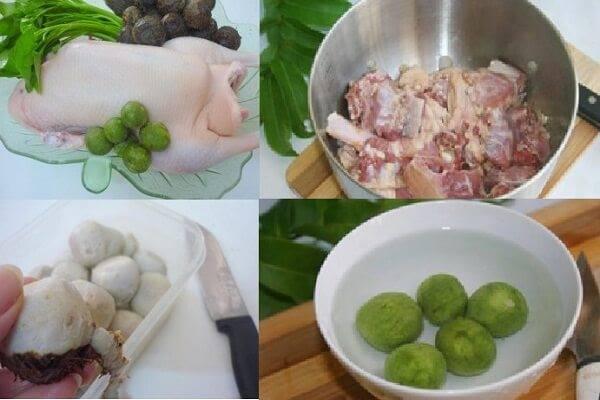 Nguyên liệu cho món vịt om sấu nước dừa đã được sơ chế khá đầy đủ.